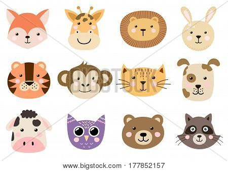 Cute animal heads for baby and children design. Fox, giraffe, lion, rabbit, tiger, monkey, cat and other. Vector illustration