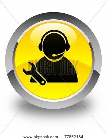 Tech Support Icon Glossy Yellow Round Button