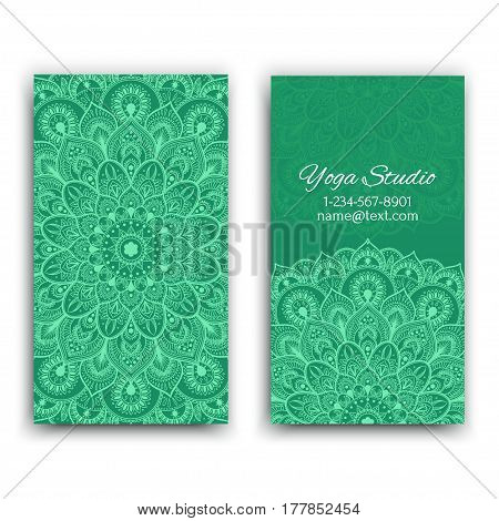 Business Cards with vintage decorative elements. Ornamental floral business cards, oriental pattern, vector illustration.