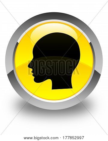 Head Woman Face Icon Glossy Yellow Round Button