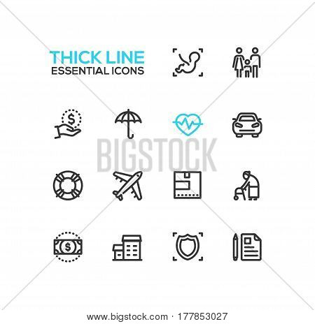 Insurance - modern vector single thick line icons set. Baby, embryo, family, dollar, hand, umbrella, pulse, car, life preserver, plane, box, senior person, bill, house, shield, note, pen