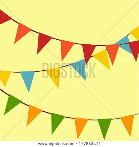 set of colored flags. holiday flags. vector illustration