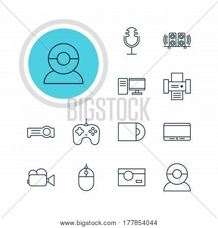 Vector Illustration Of 12 Device Icons. Editable Pack Of Floodlight, Sound Recording, Monitor And Other Elements.