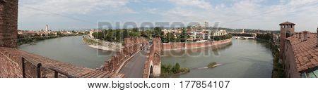 Panoramic View Of Castelvecchio Bridge From  The Castelvecchio Museum