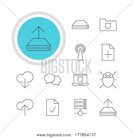 Vector Illustration Of 12 Internet Icons. Editable Pack Of Talking, Data Upload, Cloud Download And Other Elements.