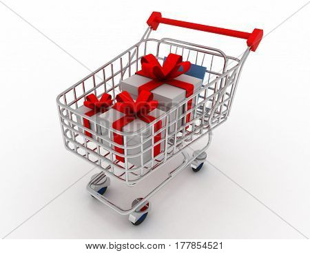 Gift Card In Shopping Cart, Isolated On White Background. 3D Rendered Illustration