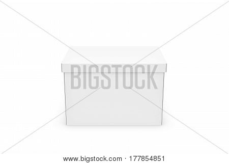 3d rendering of a white rectangle box with a closed lid on white background. Boxes and containers. Delivery and moving. Packing.
