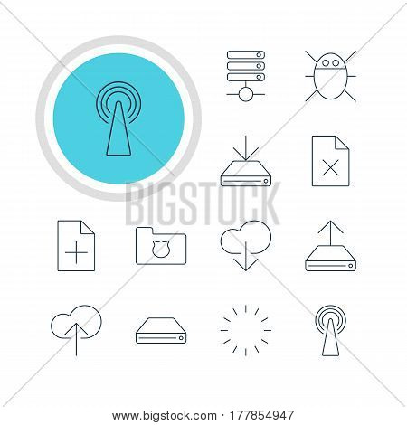 Vector Illustration Of 12 Internet Icons. Editable Pack Of Delete Data, Information Load, Server And Other Elements.