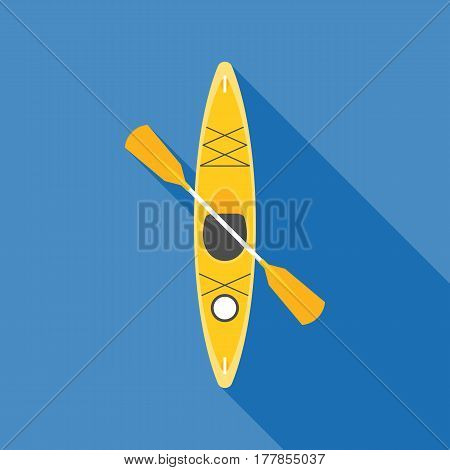 yellow kayak with paddle, flat design vector with long shadow