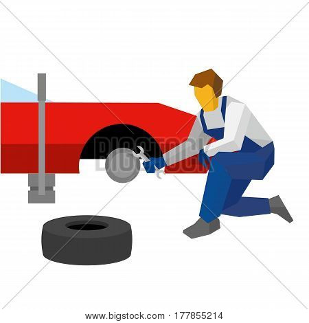 Mechanic With Wrench Repair Red Sport Car