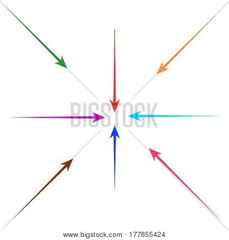 set of straight colorful  arrows  for design
