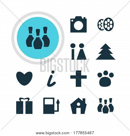 Vector Illustration Of 12 Check-In Icons. Editable Pack Of Refueling, Present, Photo Device And Other Elements.