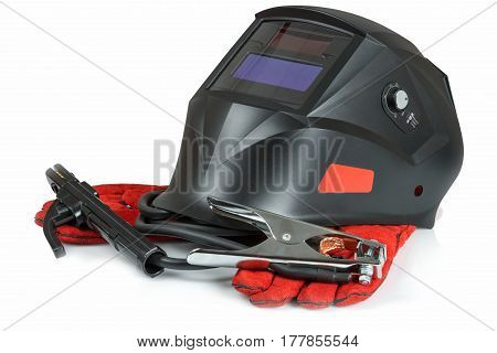 Accessories for arc welding on white background