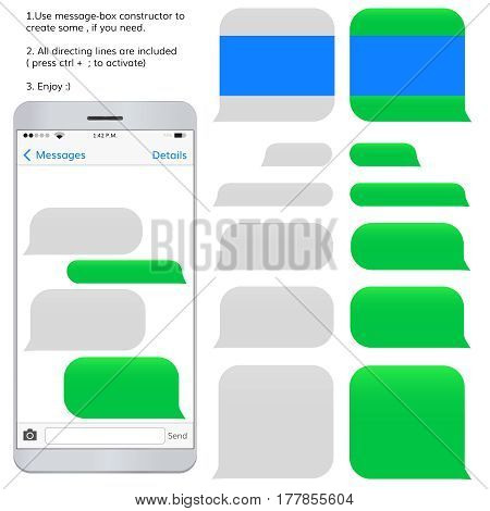 Smartphone  with empty dialog boxes . Green and grey speech bubbles set