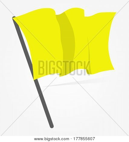 Yellow flag icon isolated on white background. Vector illustration, sport equipment