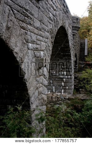 Arched Stone Bridge With Stairs At Acadia National Park