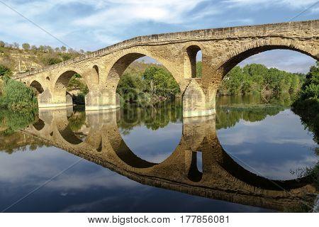 romanesque bridge over river Arga Puente La Reina Road to Santiago de Compostela Navarre Spain