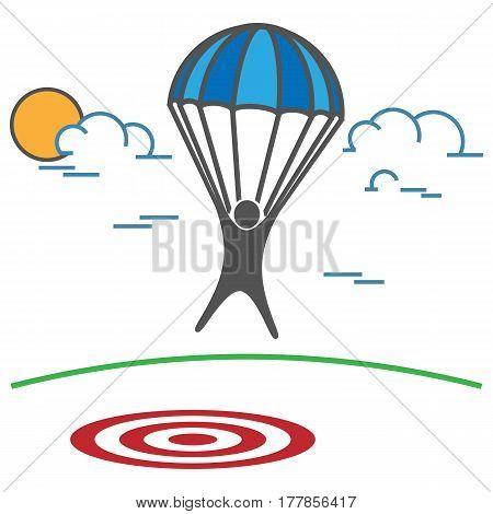 Man on Parachute landing on a target. Business concept