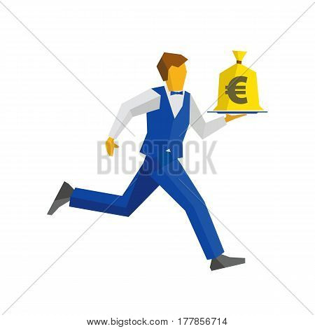 Waiter Runs With Money Bag On A Tray
