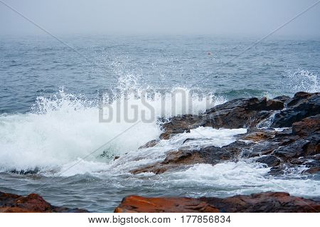Ocean On Stormy Day On Rocky Coast Of Maine