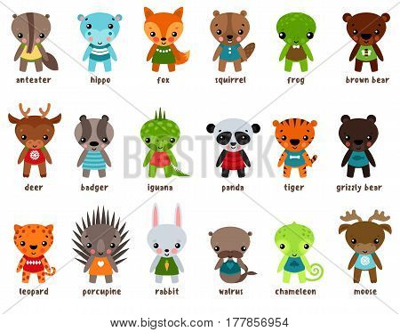 Cartoon anteater and hippo or hippopotamus, fox and squirrel, frog or toad, grizzly bear, deer or reindeer, badger and iguana, panda and tiger, leopard and porcupine, rabbit and walrus. Animal theme