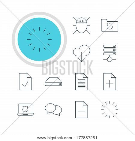 Vector Illustration Of 12 Internet Icons. Editable Pack Of Secure Laptop, Privacy Doc, Data Upload And Other Elements.