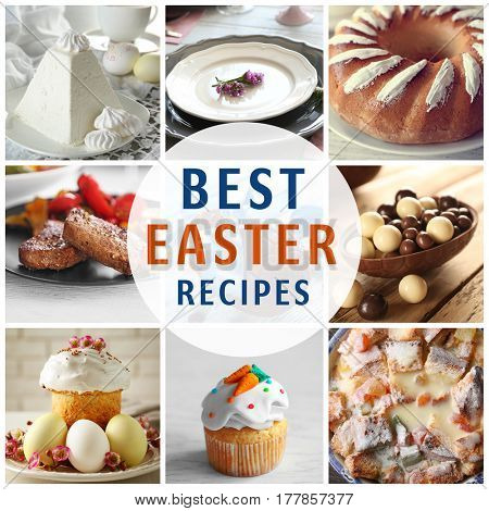 Text BEST EASTER RECIPES on background. Collage of delicious food for festive dinner