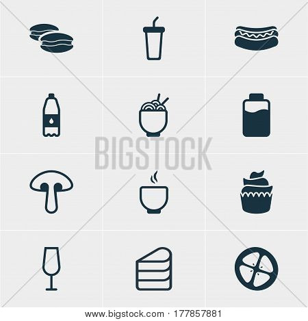 Vector Illustration Of 12 Cooking Icons. Editable Pack Of Love Apple, Drink Bottle, Lactose And Other Elements.