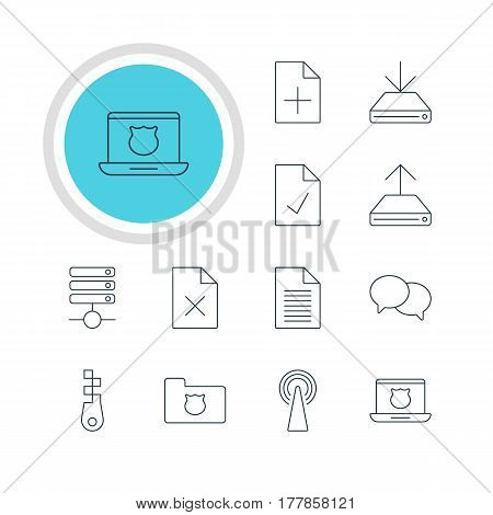 Vector Illustration Of 12 Network Icons. Editable Pack Of Information Load, Talking, Secure Laptop And Other Elements.