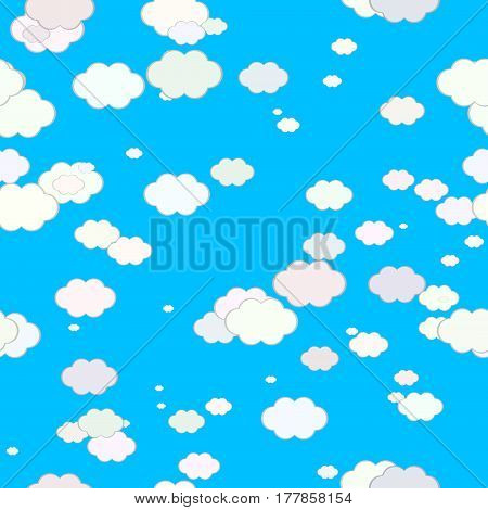 Abstract light colorful clouds on blue summer sky, Texture background, Seamless illustration