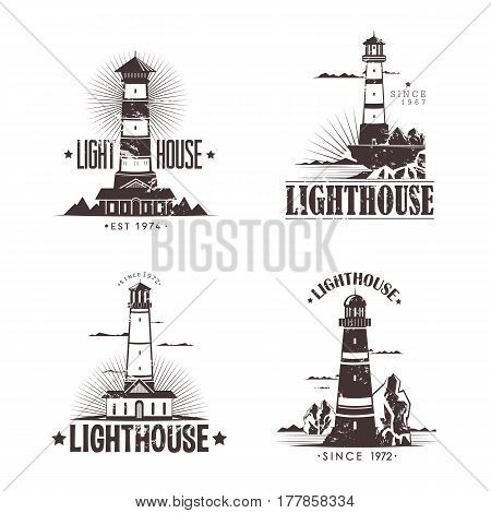 Lighthouse at harbor, set of navigation building on mountain rocks sketches. Guidance beacon at ports for showing ship directions. Nautical hazard and marine theme, travel and sailor, seaside theme