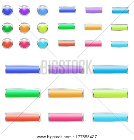 Set of bright colorful buttons for web