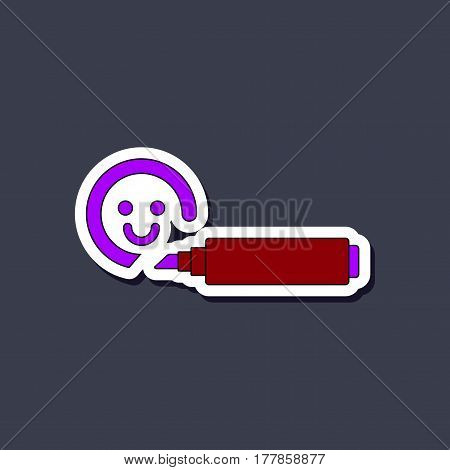 paper sticker on stylish background of Kids toy felt-tip marker