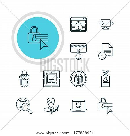 Vector Illustration Of 12 Protection Icons. Editable Pack Of Account Data, Data Error, Internet Surfing And Other Elements.