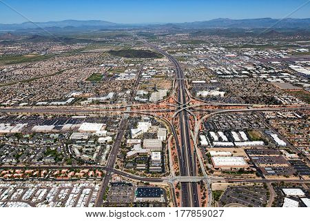 Aerial view of the interchange where Interstate 17 meets the Loop 101 looking north in Phoenix Arizona