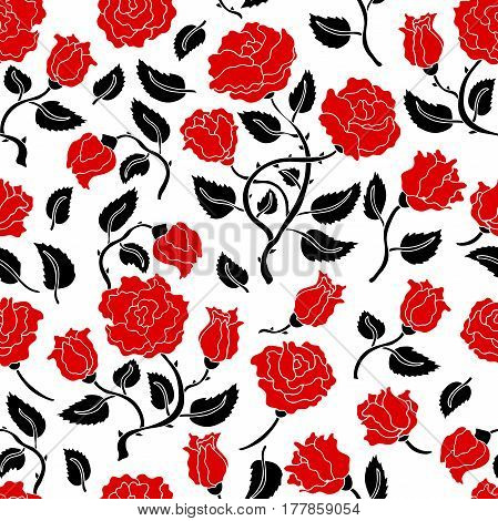 Seamless floral pattern with black and red flowers. Retro textile collection.