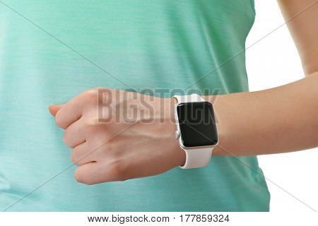 Closeup view of woman with smart watch on hand