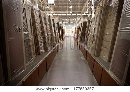 Different types of doors in supermarket