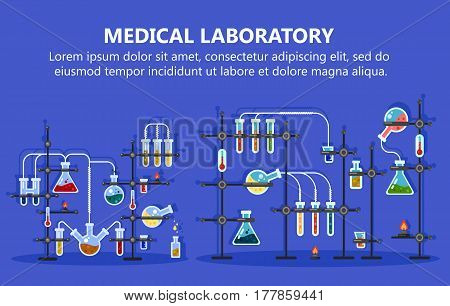 Medical lab or medicine laboratory for experiments with glassware flask and glass tubes, thermometer, biotechnology and science, pharmaceutical and chemical experiments theme
