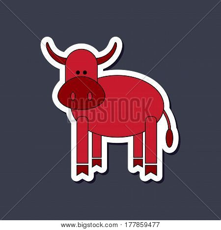 paper sticker on stylish background of Kids toy cow