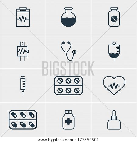 Vector Illustration Of 12 Medical Icons. Editable Pack Of Vaccinator, Pills, Medicament Pitcher And Other Elements.