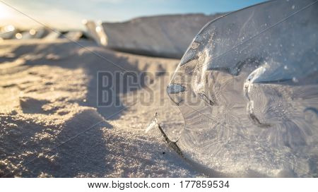 Piranha fish figure made by nature itself from clear and clear ice on the lake.Crystally clean piece of ice squeezed the lake up and processed by wind. It beautifully shimmers the sun's rays, plays light and glare. The sun is reflected in the ice.