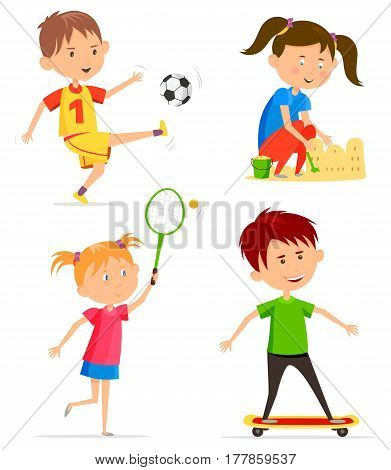 Set of kids playing. Boy with soccer or football ball and girl building sand castle with bucket, child with pigtails holding racket or rack playing tennis, schoolboy skating on skateboard. Children