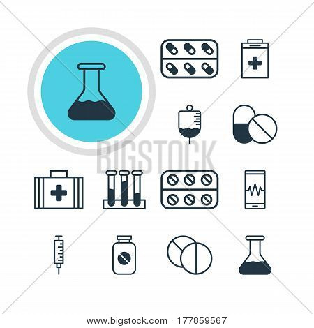 Vector Illustration Of 12 Health Icons. Editable Pack Of Aspirin, Experiment Flask, Medicine And Other Elements.