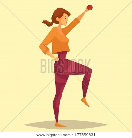 Girl doing weight exercise or woman lifting dumbbell or barbell at gym or gymnasium. Female at sport center at workout, sportswoman caring about body shape. Strength training and fitness, crossfit