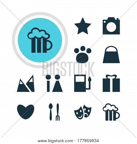 Vector Illustration Of 12 Travel Icons. Editable Pack Of Bookmark, Handbag, Landscape Elements.