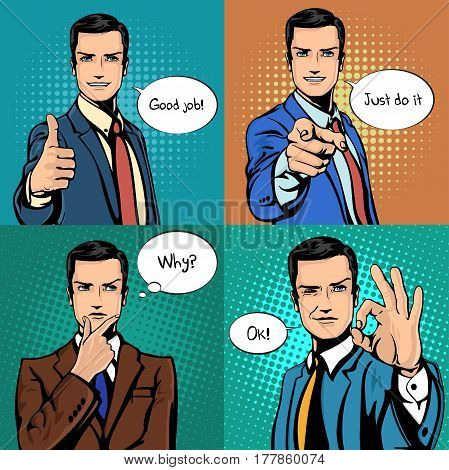 Comic cartoon businessman with different hand gesture of thumbs up and ok sign, pointing finger exclamating do it, wondering with why sound. Emotion and face expression, man with bubble speeches