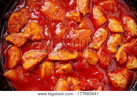 Closeup view of delicious chicken tikka masala