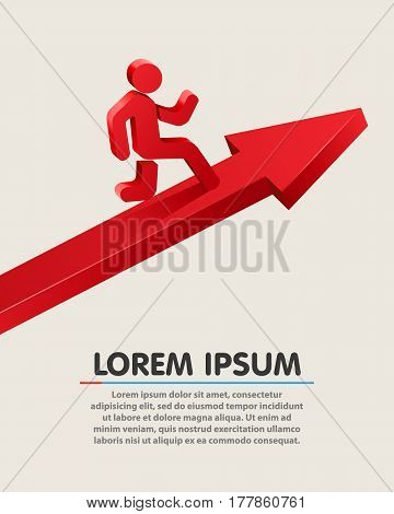 Running leader on grossing arrow. Business successconcept. Vector illustration