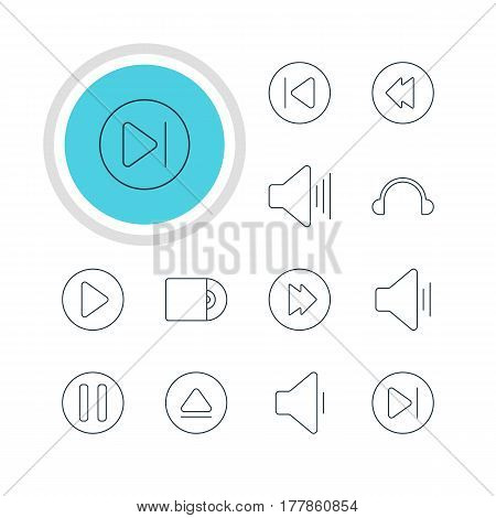 Vector Illustration Of 12 Music Icons. Editable Pack Of Volume Up, Lag, Preceding And Other Elements.